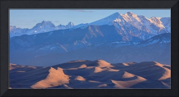Early Morning Sand Dunes and Snow Covered Peaks