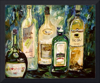 Bottles Oil Painting by Ginette Callaway