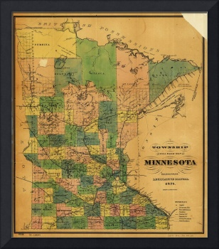 Township and Railroad Map of Minnesota (1874)