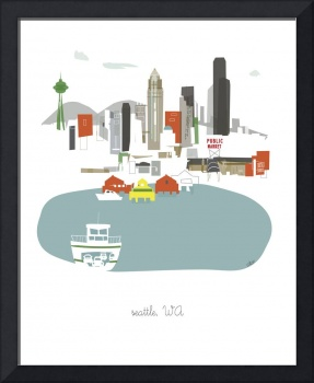 Seattle Modern Cityscape Illustration