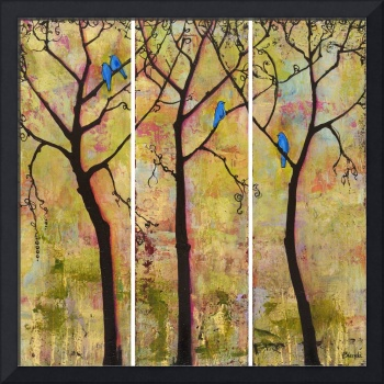 Birds in Trees Triptych Art Painting