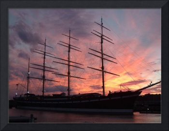 Philadelphia, Sunset Behind the Tall Ship