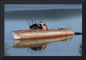 reflection of damaged boat