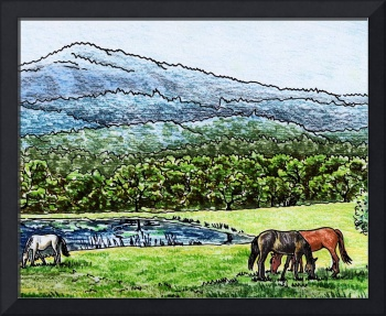 Landscape With Horses Watercolor Painting