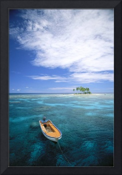 Micronesia, Small Boat In Turquoise Waters Off Sma