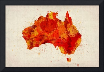 Australia Watercolor Map Art Print