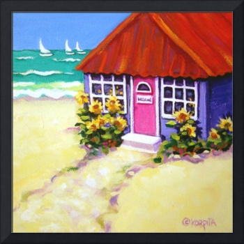 Tiny Purple Cottage by the Sea - Beach Seashore