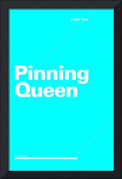 Pinning Queen typographic poster - Blue and White