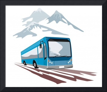 Shuttle Coach Bus and Mountains