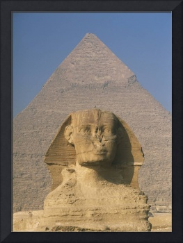 Sphinx In Front Of Great Pyramid Of Chephren Giza