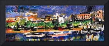 Abstract Urban River Cityscape Panorama