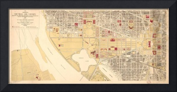 Vintage Map of The Washington D.C. Mall (1917)