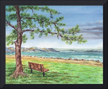 Cozy Bench Under The Tree At The Marina Watercolor