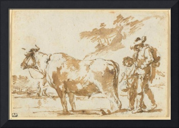 THE NETHERLANDS, 17TH CENTURY Two herdsmen with a