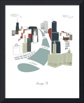 Chicago Modern Cityscape Illustration
