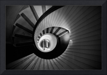 Black and White Circular Stairway Starwell
