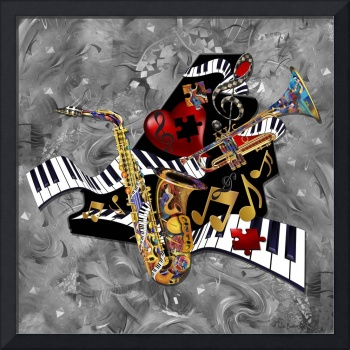 Piano Music Jazz Sax Collage