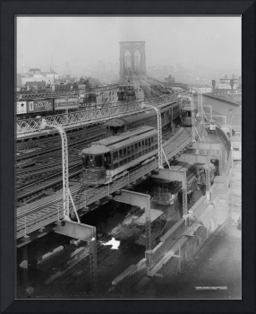 Vintage Brooklyn Bridge Railway Photograph (1910)