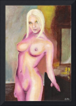 FEMALE NUDE STANDING ORIGINAL MULTIMEDIA ACRYLIC O