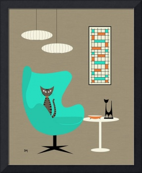Mid Century Modern Tabby Cat in Aqua Chair