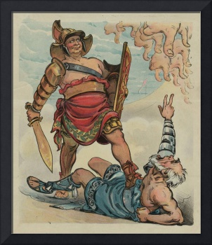 Vintage Illustration of a Gladiator Fight (1898)