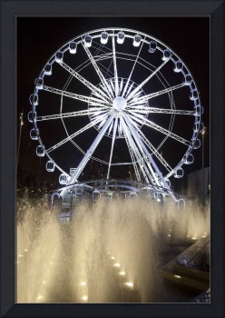 A Ferris Wheel And Fountains At Night, Middlesbrou