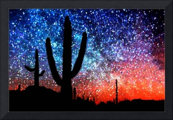 Digital Art Abstract - Cacti and the Starry Night