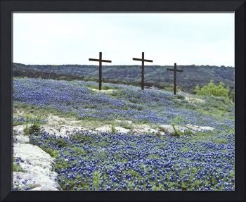 Stones and Three Crosses in Blue Bonnets