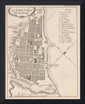 Vintage Map of Veracruz Mexico (1764)