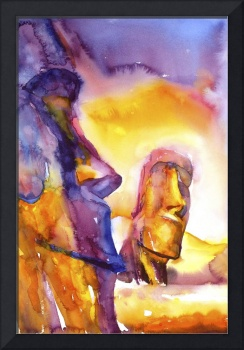 Watercolor painting of Moai on Easter Island, Chil