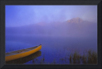 Canoe On Patricia Lake, Jasper National Park, Albe