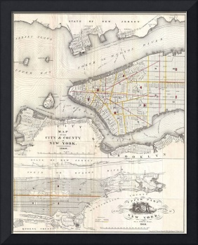 Vintage Map of New York City (1860) 2