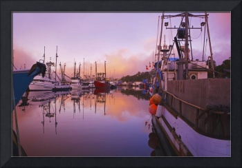 Sunrise Through The Morning Fog In Newport Harbor