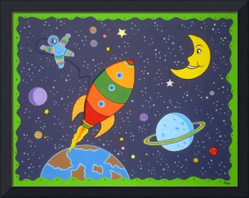Space travel nursery painting