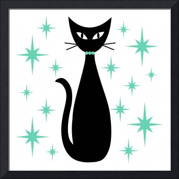 Mid Century Cat with Aqua Green Starbursts