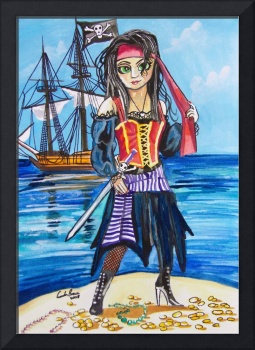 BIG EYE PIRATE WATERCOLOR PAINTING