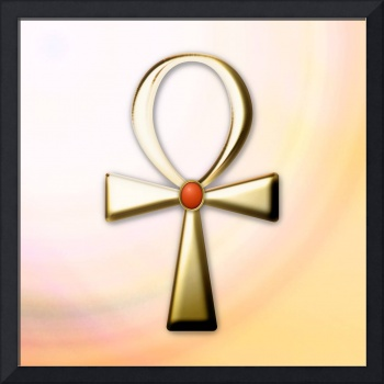 Gold Ankh with Carnelian