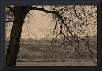 Longs Peak and Mt Meeker Twin Peaks Sepia BW Image