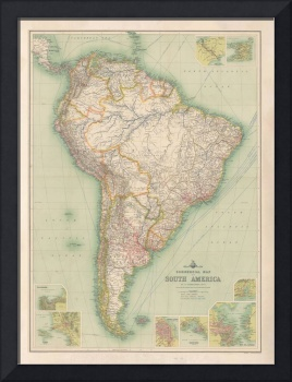 Old South America Map (1883) Vintage Southern Amer