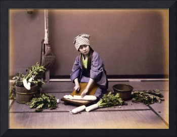 Girl cutting a Japanese radish