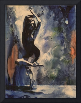 Watercolor painting of woman in ballet position