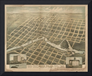 Vintage Pictorial Map of Sioux Falls SD (1881)