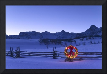 Holiday Wreath on Split Rail Fence Colorado Winter