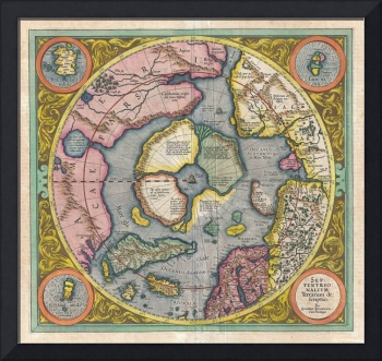 Map of the Arctic (North Pole) by Hondius