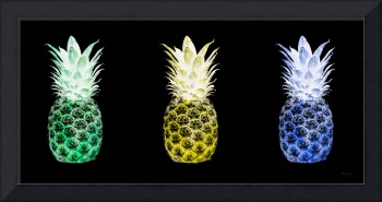 Triptych 14V Artistic Pineapple Green Yellow Blue