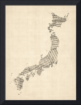 Old Sheet Music Map of Japan