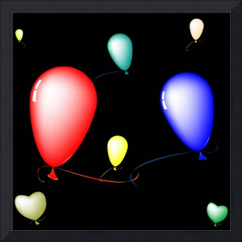 colored ballons composition over black background