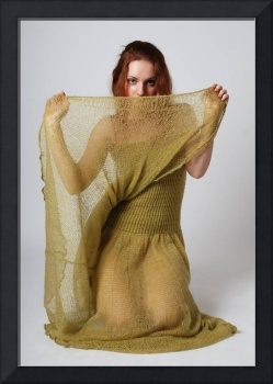 Girl in olive-green knitted fabric