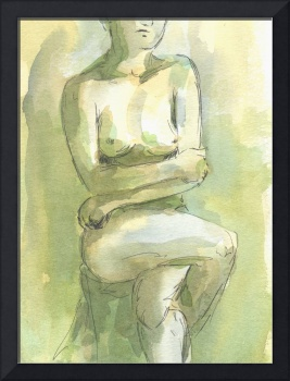 Yellow Green Female Nude Figure Study