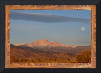 Longs Peak Full Moon Rustic Wood Picture Window F